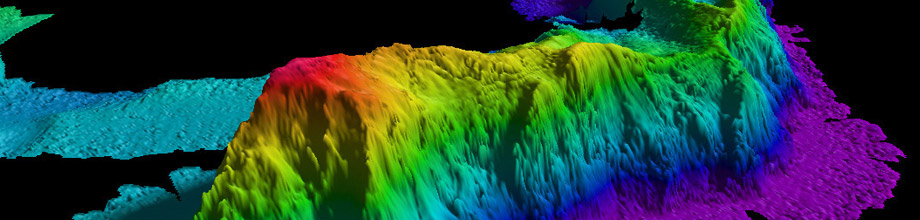A map of a seamount in the Arctic Ocean created by NOAA's Office of Coast Survey by gathering data with a multibeam echo sounder.